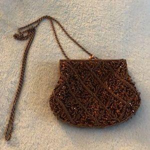 La Regale beaded brown evening bag